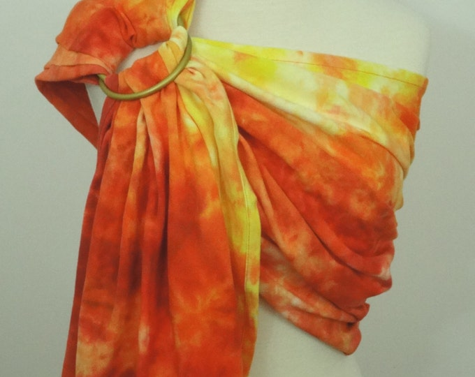 """READY TO SHIP -Broken twill """"Fire"""" ring sling -100% organic cotton- handyed- baby wrap - yellow, orange, red"""