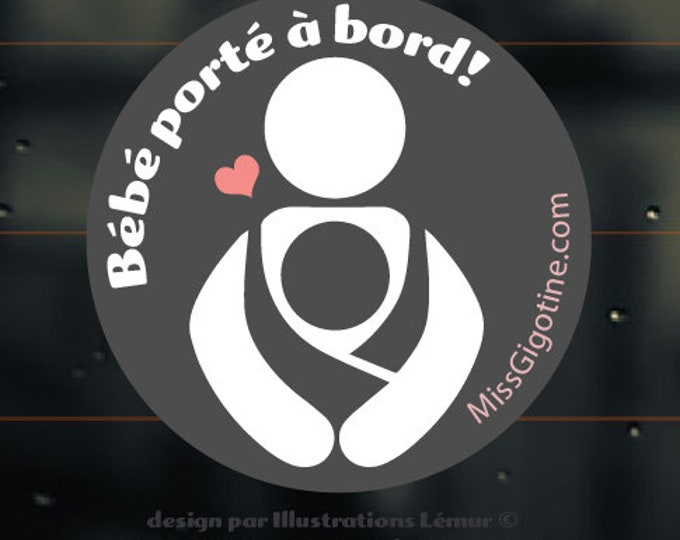 Window decal, Windshield sticker - Babywearing - carrier - Baby on board