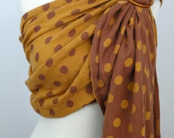Didymos - Punti D'Oro wrap conversion ring sling, 100% Cotton - WCRS - Orange, brown, gold