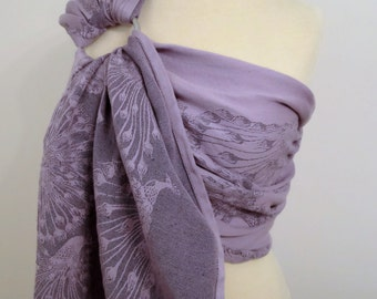 Natibaby wrap conversion ring sling- Pao Velvet- cotton/linen - WCRS, lilac and purple