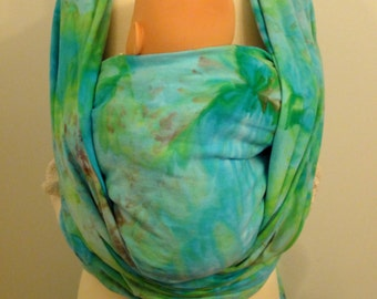 100% organic cotton hand dyed baby wrap SIZE 6 (4.6m), turquoise, blue, green, Kelly green, acajou brown