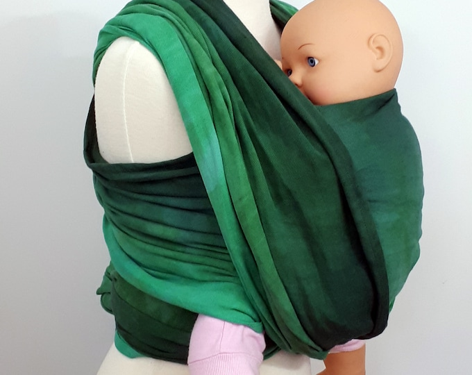 Hand dyed woven baby wrap, organic cotton/linen, SIZE 6 (4,8m), Turquoise, blue, green, emerald, forest green