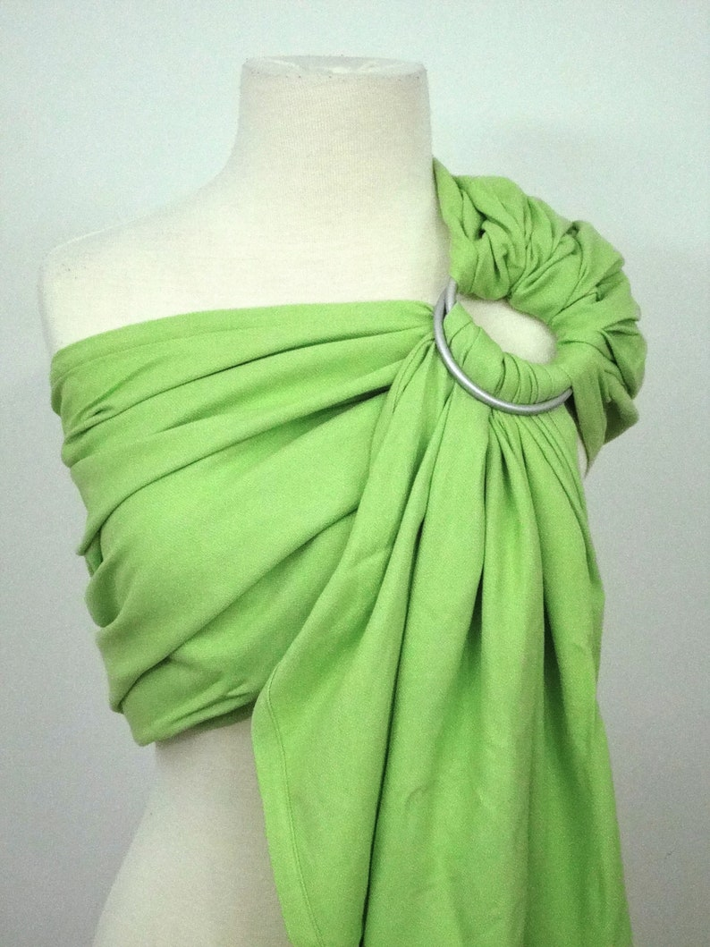 Green lime woven ring sling  100% organic cotton image 0