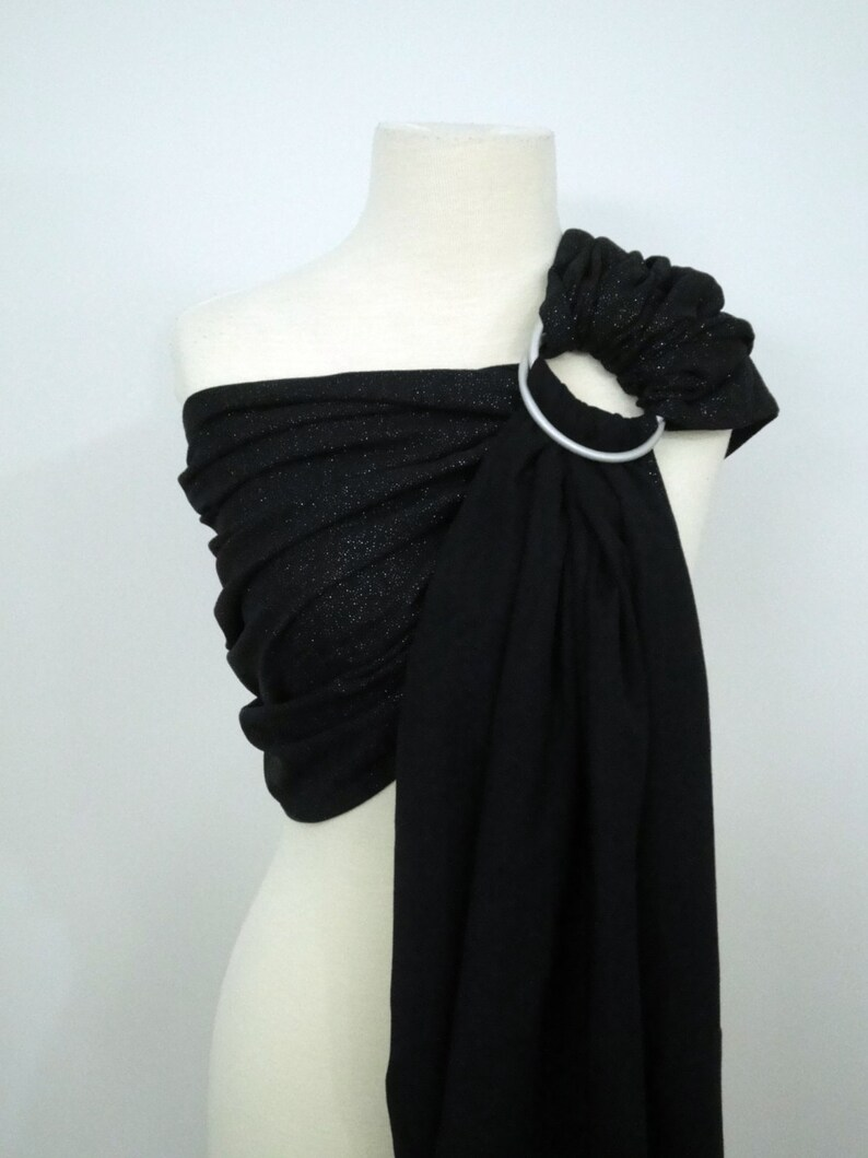 Black SHINY woven ring sling  100% organic cotton Limited image 0