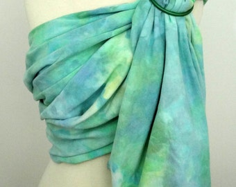 XS Broken twill ring sling -100% organic cotton- handyed- baby wrap - blue, green, aqua, yellow