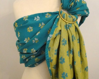 Natibaby wrap conversion ring sling- Find your luck- cotton/linen - WCRS, emerald green, yellow, white