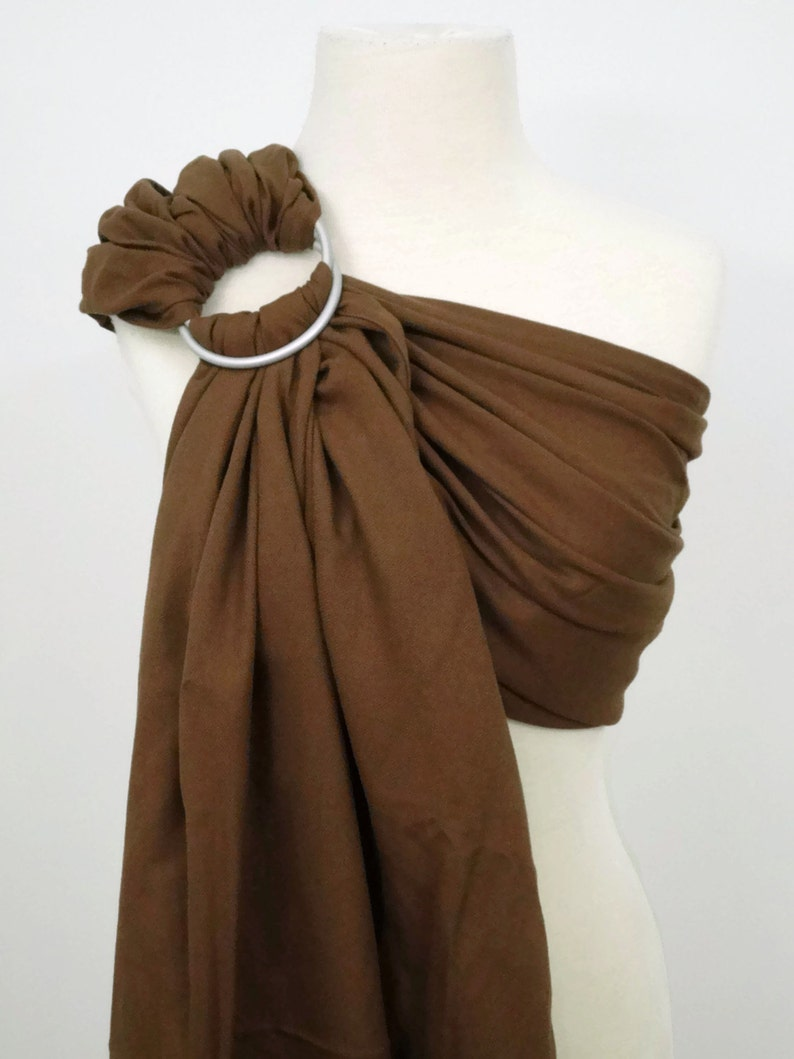 Chocolate brown woven ring sling  100% organic cotton image 0