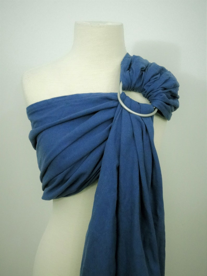 Denim blue broken twill ring sling  100% organic cotton image 0