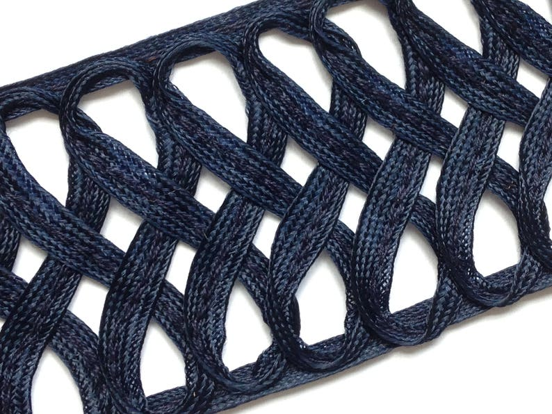 French from 1930/'s offered in 11 yard lots Midnight Blue Trim 2 lots available. figure eights in rayon ligne braid 1-34 wide