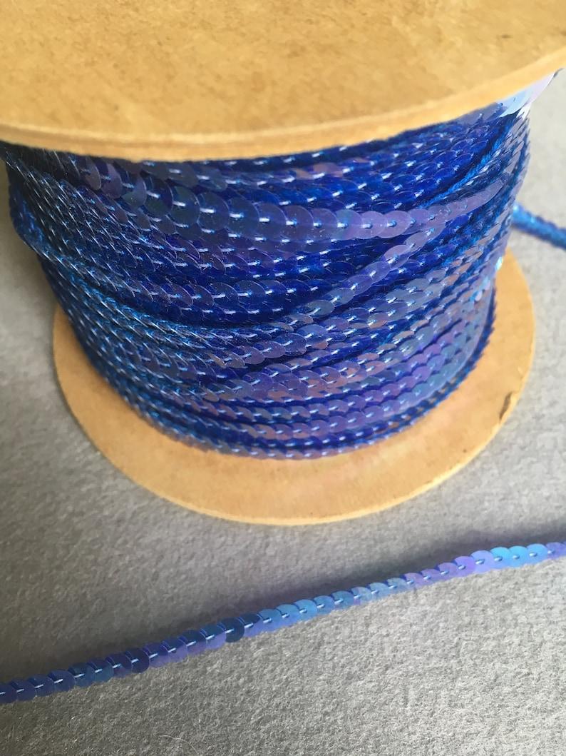 5mm sequins medium blue metallic with iridescent finish
