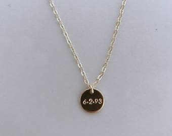 8.9mm DATE disc    Gold Filled Hand stamped date disc