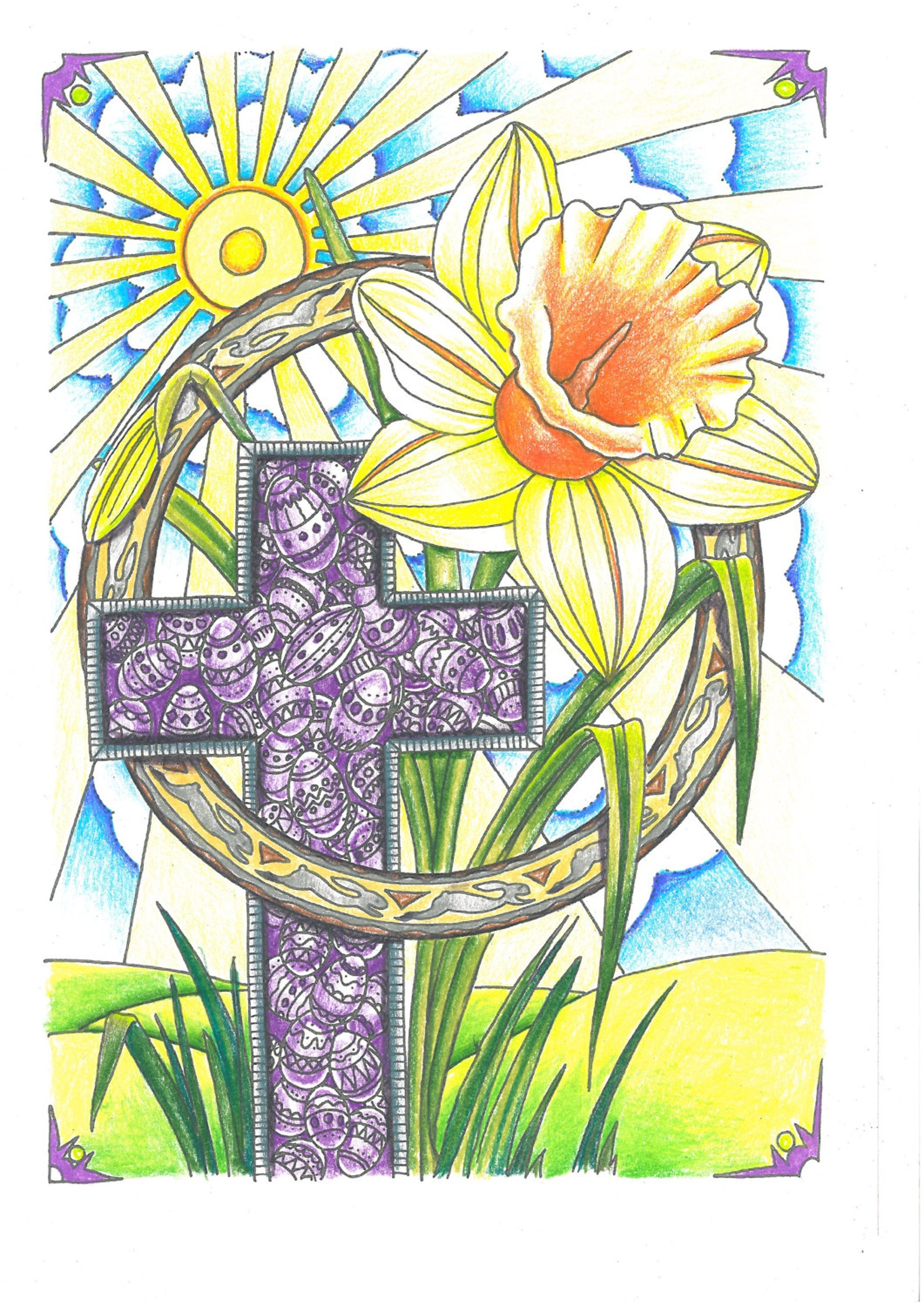 Easter Coloring Instant Digital Download