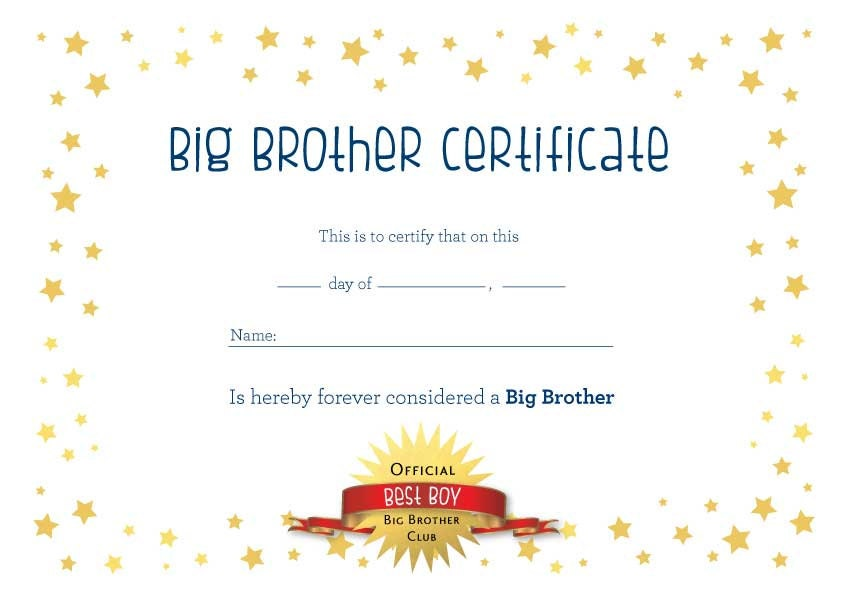 Big Brother Certificate A4