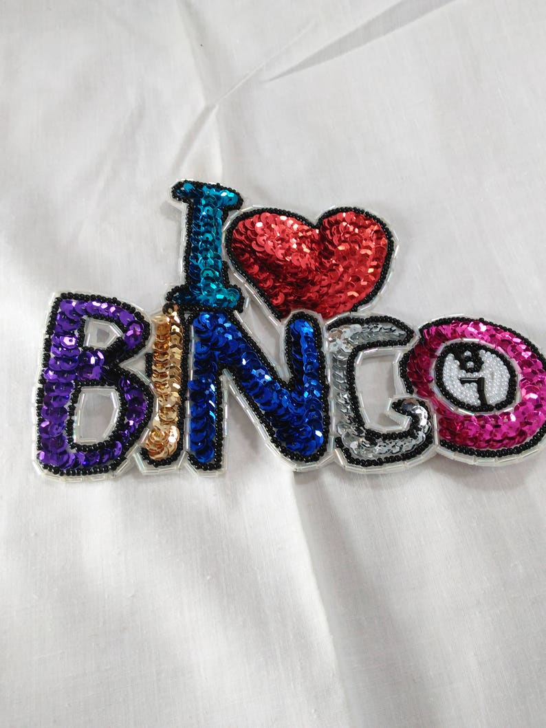 "Game /""I Love Bingo/"" BINGO Embroidered Iron On Applique Patch"