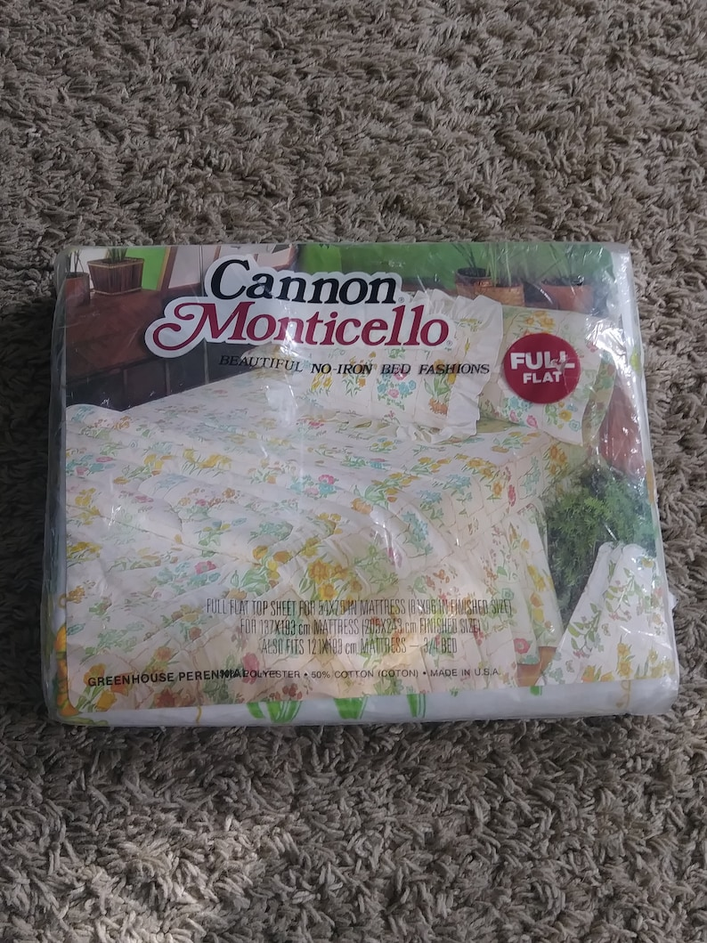 Vintage Cannon Monticello Floral Flat Full Sheet New Made in the USA Beautiful No Iron Bed Fashion