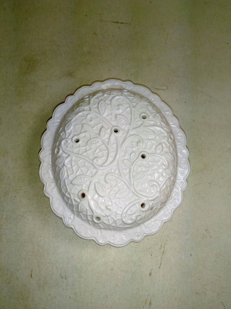 White Porcelain Pot Pourri Holder/Hanger With Floral Design On  Front/Plastic Stoppers In Rear/ Great Used Condition (B)
