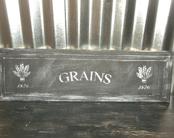 Grains Sign Kitchen Grains Sign Wall Decor Sign Wood Sign Shabby Cottage Chic Sign Rustic Sign Repurposed Drawer Front