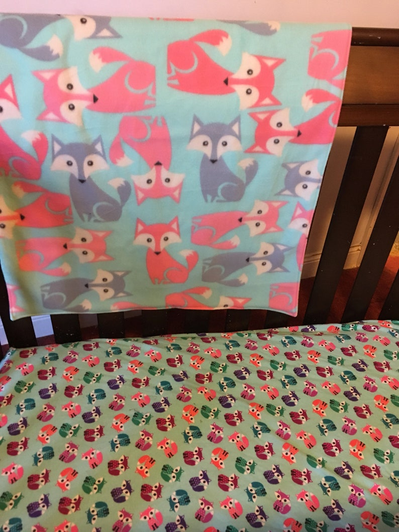 Colorful Foxes With Big Eyes Flannel Fitted Crib Sheet Toddler Etsy