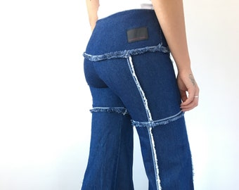 4c9811eb1317e4 Vintage LUSCIOUS deadstock sz 3 fits medium low rise low waisted blue  stretch rave jeans denim flare bell bottoms distress 90s 00s women