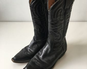 c6ea69e6e5d78 Vintage size 36 made in Italy vero cuoio cowboy black leather quality boots  calf length southwestern western rodeo cowgirl shiny embossed