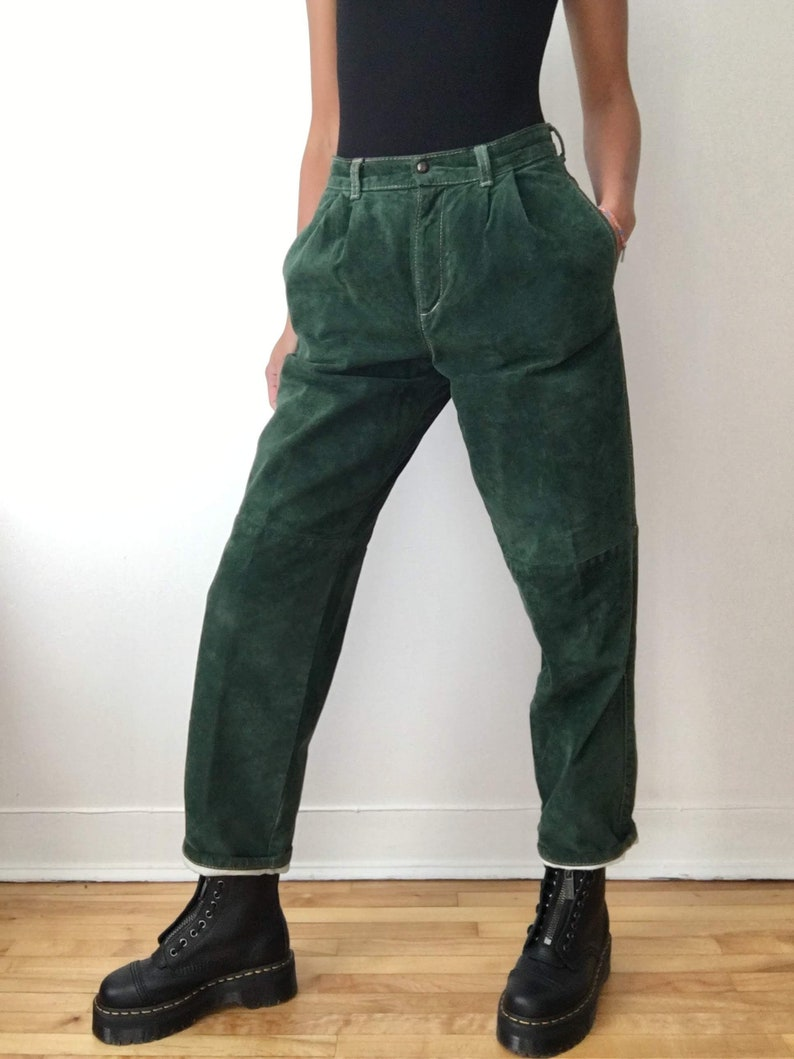 Vintage green suede pants high waisted fall trousers pockets image 0