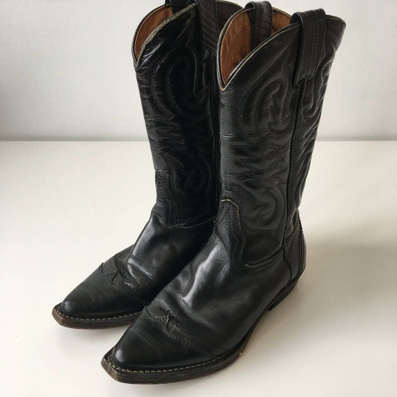Vintage size 36 made in Italy vero cuoio cowboy black leather image 0
