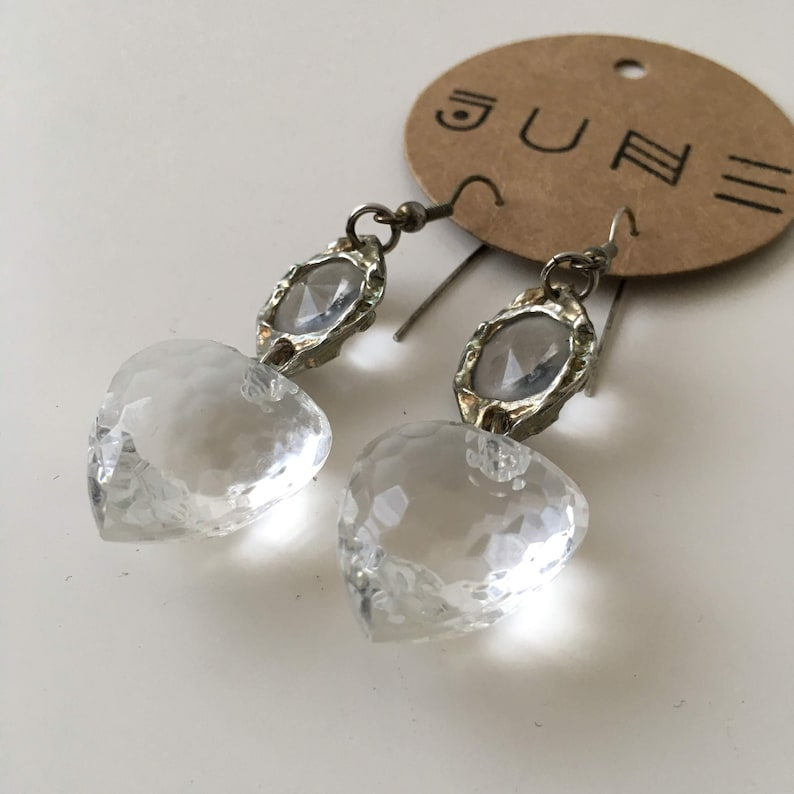 Vintage amazing drop earrings dangle glass clear and bronze image 0