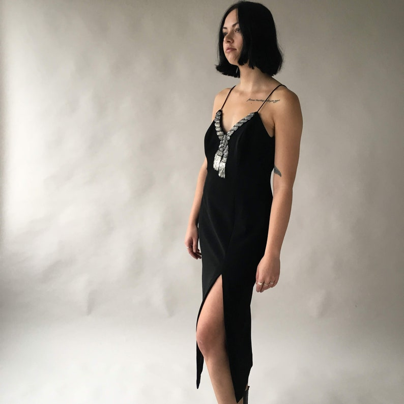 Vintage amazing cocktail black dress sequins sequined tassel image 0