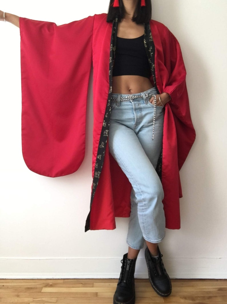 Handmade red kimono robe women jacket coat black swinging image 0