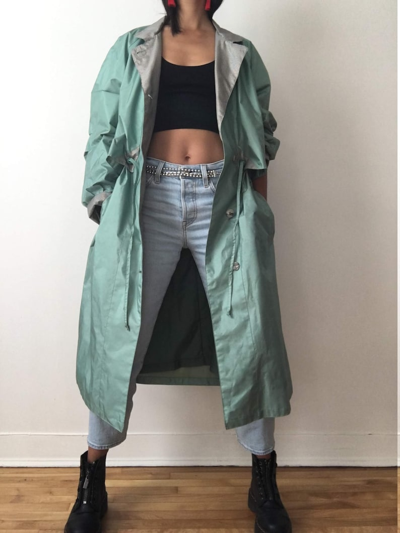Vintage windbreaker jacket lightweight coat mint color women image 0