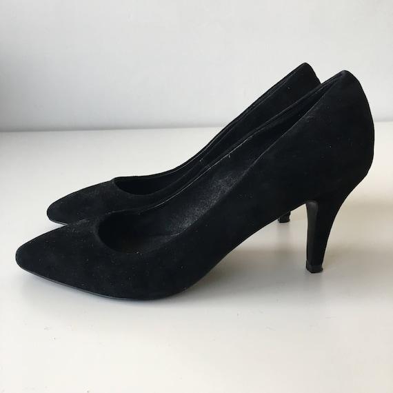 de47250d1fc5 Black heels sz 39 suede genuine leather high heels pumps