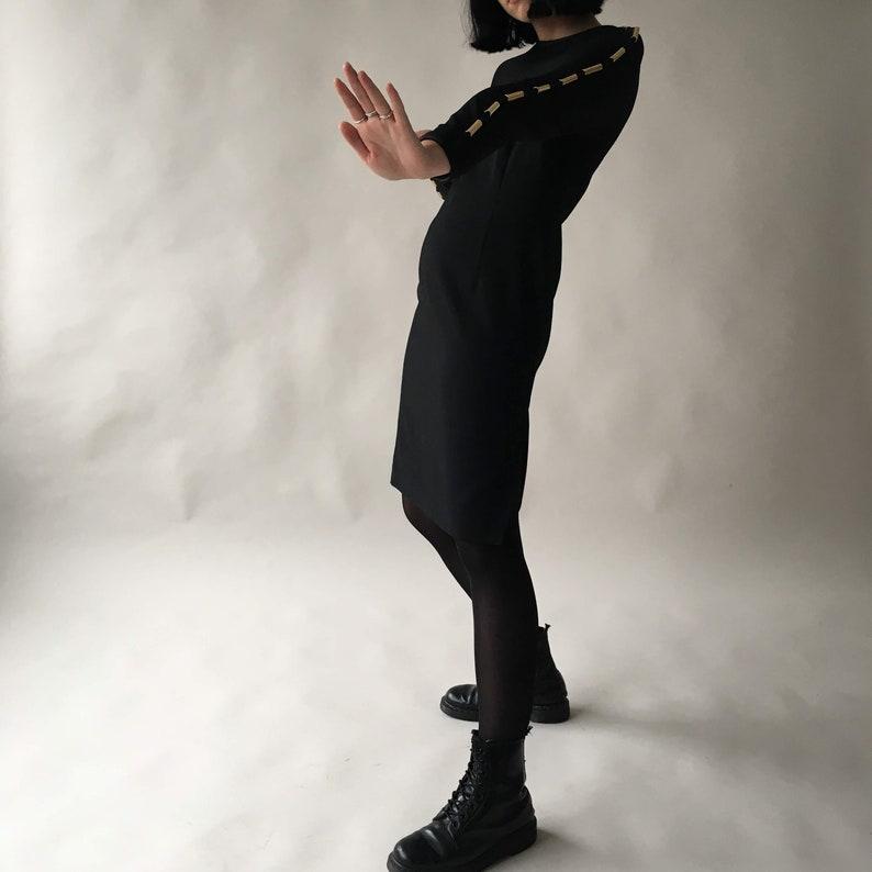 Vintage Medium black dress knee length made in Italy gold image 0