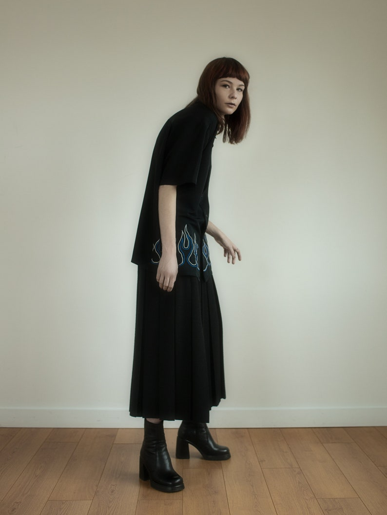 Vintage black wool pleated maxi skirt women high waisted high image 0