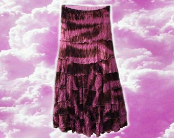 Gypsy Queen Frill Pink/Brown Midi/Maxi Skirt