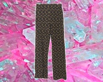 70s High Waisted Floral Flared Pants