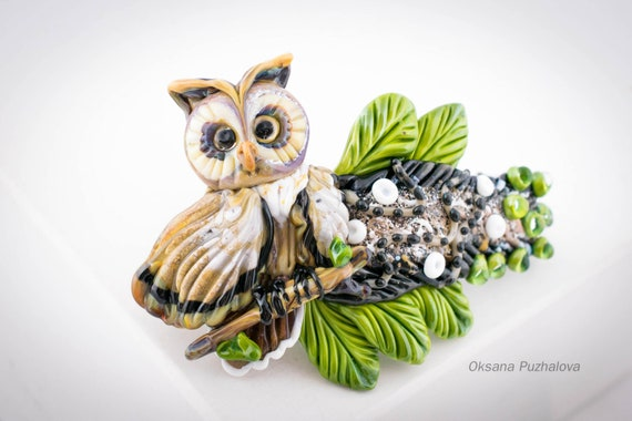 Glass owl hair barrette, long hair clip Hair claw clip, hair clip woman, france barrette, thin hair clips, france owl barrette for long hair