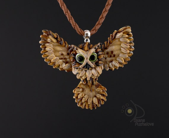 Necklace. Uncommon exclusive glass owl pendant. Rare remarcable souvenir jewelry for teacher cousin. Symbol of knowledge of ancient indians