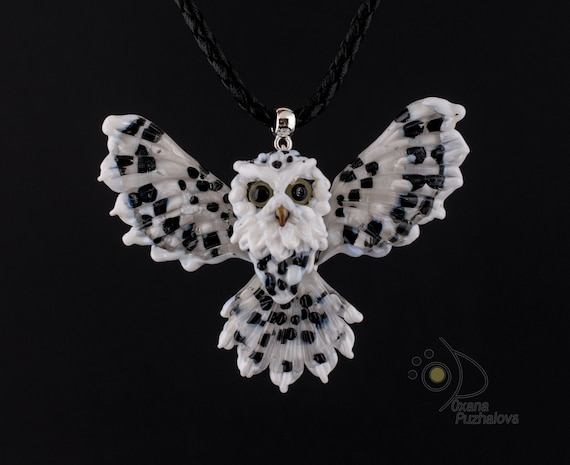 Necklace. Black white owl lampwork pendant туслдфсу. Unique jewelry gift for Audubon bird watcher. Native american symbol. Indians totem