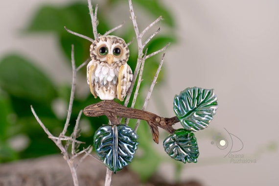 Owl brooch jewelry. Glass owl pins for costume. Suit broshes for women. Lampwork owl jewelry shawl buckle. Scarf pin for women. North owl