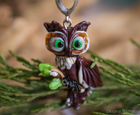 Lampwork owl necklace, bird jewelry, lampwork beads - glass owl sculpture, glass beads, owl pendant, glass bird necklace