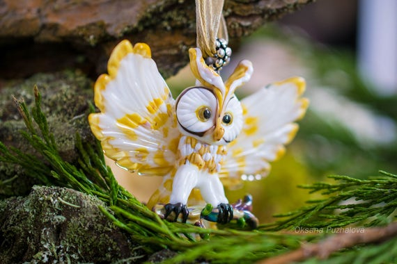 Glass lampwork Owl necklace for women, owl pendant, glass blowing necklace jewelry, glassworks,  glassblowing