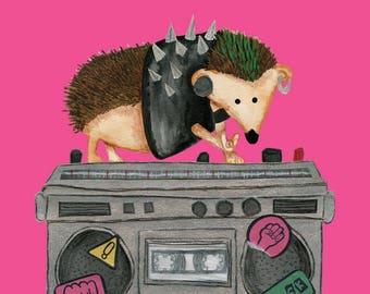 Punk Rock Hedgehog A6 Card