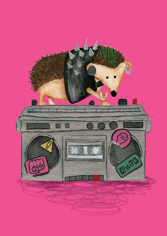 Punk Rock Hedgehog A6 Postcard