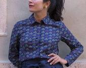 1950s shirt with peter pan collar - Button up shirt for women - Vintage print shirt - Blue mustard shirt blouse - Retro printed cotton shirt