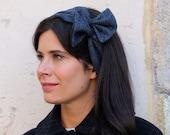 Wide headband – Wool head wrap – Blue pinup head scarf – 50s headband – Ear warmer – Vintage headband - Blue herringbone turban headband