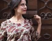 50s blouse -  Loose powder pink blouse top -Floral blouse -Vintage floral top -Retro viscose blouse - Womens loose blouse - Peter pan collar