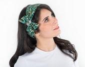 Wide headband for women, easy-on style – Reversible headband - Green head wrap –Printed vintage headband –Turban headband –Pinup head scarf
