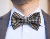 Houndstooth bow tie for men - Hipster bow tie handmade in wool- Beige houndstooth bowtie - Retro bow tie -Bow tie in beige blue and burgundy