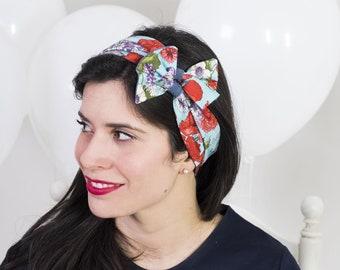 Fascia per capelli – Fascia fiocco – Turbante cotone a fiori – Fascia retrò  – Fascia anni 50 – Fascia capelli vintage 930f2bb9fae3