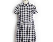 Plaid linen dress - Shirt dress with gathered skirt - Linen shirtwaist dress - Chemisier with sash belt in blue and ecru-Vintage style dress